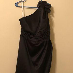 Black, one shoulder knee length dress